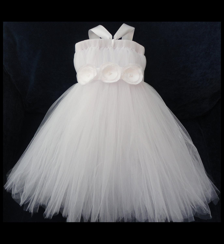 White Flower Girl Dress by StrawberrieRose on Etsy