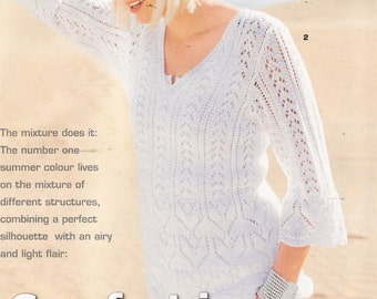 White cotton ajouree sweater with 3\/4 sleeves no.158