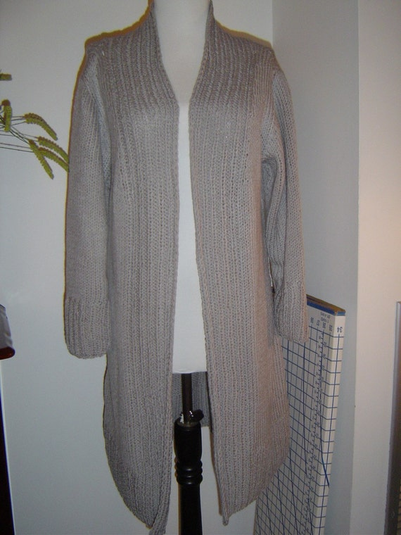 Grey wool\/acrylic long cardigan no.141