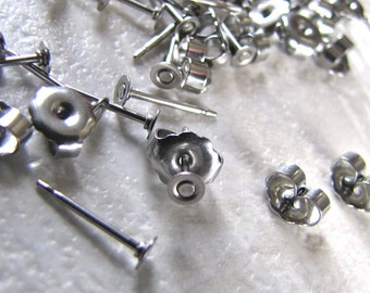 48 3mm Surgical Steel Flat Pad Earring Posts and Backs jewelry finding supplies