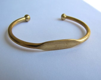 Brass Bangle Cuff Bracelet With Blank ID Plate  - Oval - Qty 1