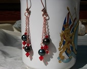 Crystal Pearl and Copper Dangle Earrings