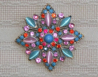 Vintage Catseye Pin In Pink Blue Hues