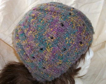 Multicolored Fuzzy Warm and Soft Hand Knit Beanie With Black Beads