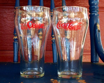 Two Vintage Coca Cola Glassware Glasses With Red Logo