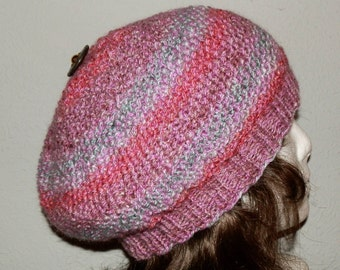 Beret Hand Knit With Designer Button In Warm Hues Blended Together