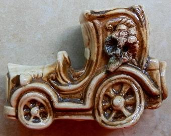 Miniature Touring Car Ceramic Porcelain Decor Piece Vintage