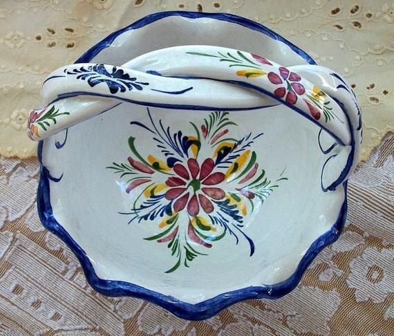 Vintage Ceramic Porcelain Basket Hand Painted in Portugal