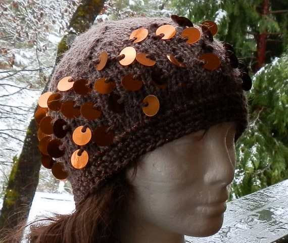 Soft Brown Alpaca Hand Knit Beanie with Copper Sequins and Copper Yarn