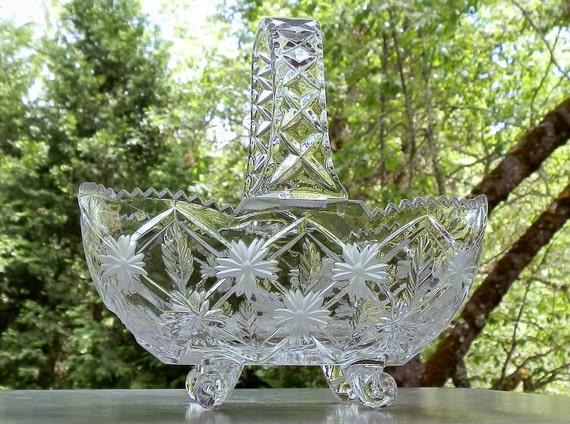 Vintage Cut Glass Basket Decor Dish