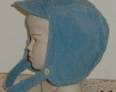 RESERVED FOR CAMILLA ...VINTAGE CORDUROY HAT FOR LITTLE BABY BOY BRIM AND STRAP BLUE CIRCA1950s