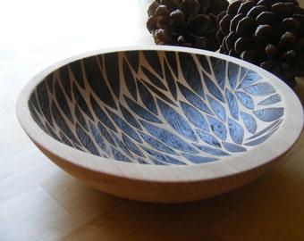 Hand-turned Patterned Wooden Bowl - Leaf Drop