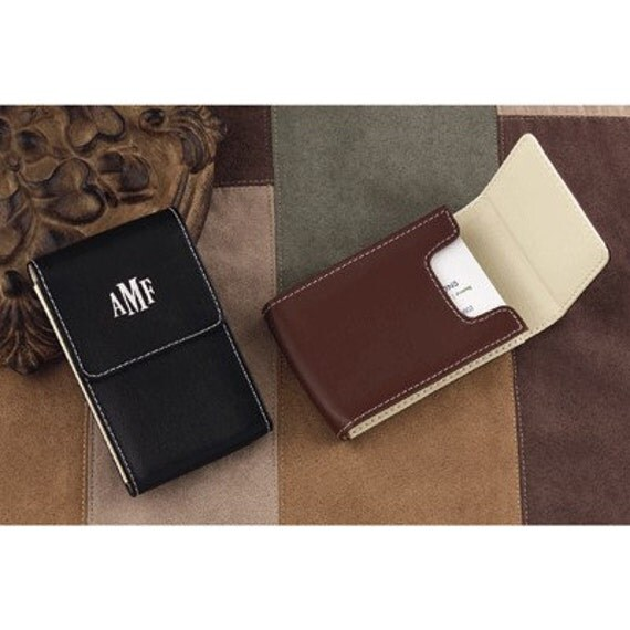 Black Leather Personalized Business Card Case Mens Gift