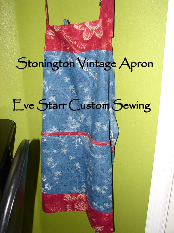 Retro Vintage Shabby Chic Vintage Style Chef Apron  Waverly Wedgewood Fabric     by Eve Starr Original Design