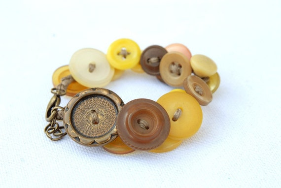 Sunflower seeds Lost and Found Funky Chunky Bling Button Bracelet