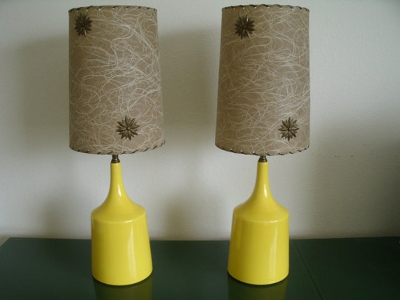 Vintage Table Lamps Pair with Shades