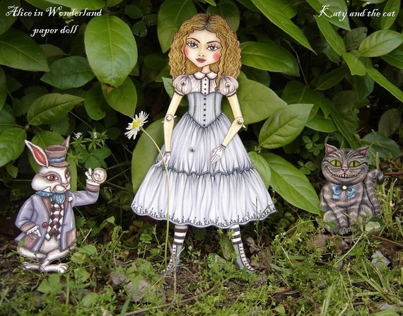 Alice in Wonderland Articulated Paper Doll- White Rabbit and Cheshire Cat (DIY)