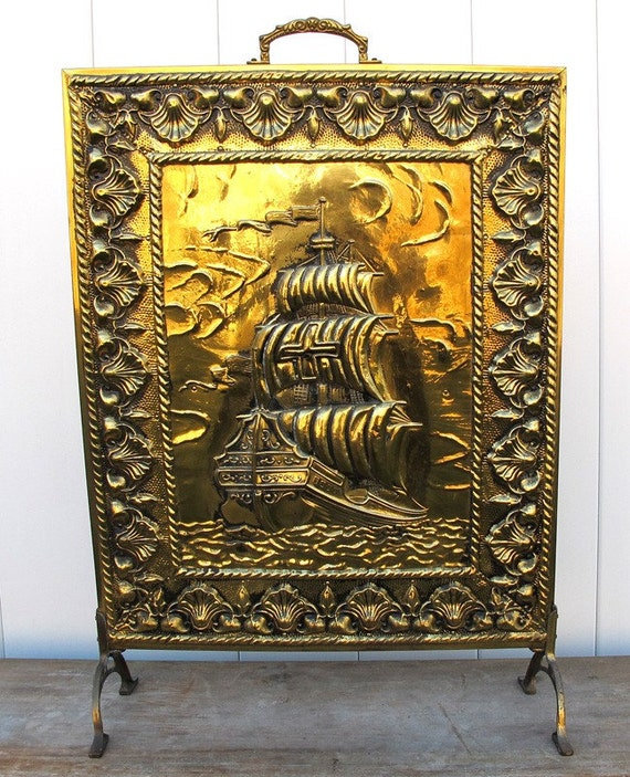 antique vintage brass ship fireplace screen by hydrangearow