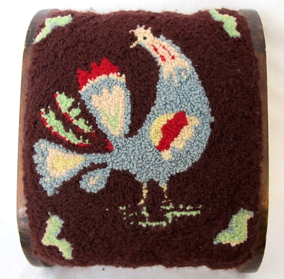 Vintage Stool Hand Hooked Rooster