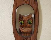 Vintage Woodland Owl Wall Art / Mid Century Wall Hanging / Hoot