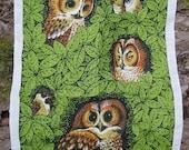 Vintage Decorative OWL Bath or Kitchen Linen Towel