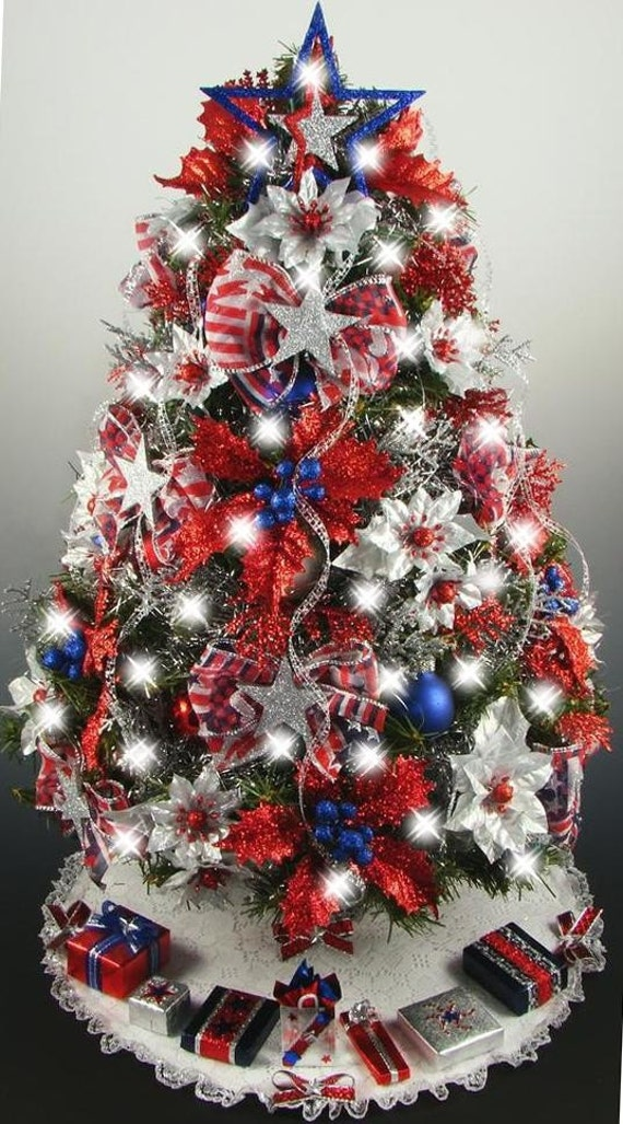 Decorated mini tabletop christmas tree patriotic 4th of july for Red and white christmas tree theme
