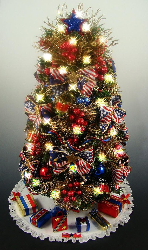 Decorated patriotic tabletop mini christmas tree red white