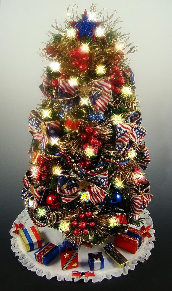 decorated patriotic tabletop mini christmas tree red white. Black Bedroom Furniture Sets. Home Design Ideas