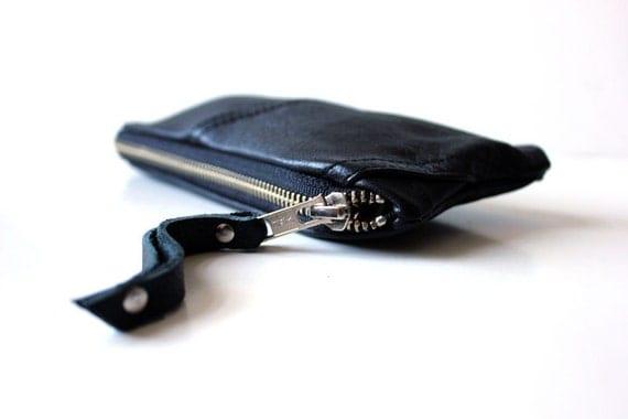 repurposed black leather pencil case zip pouch leather vintage lining // la trousse