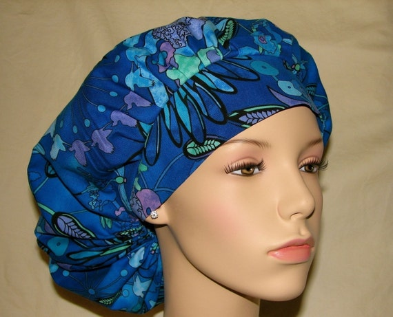 Bouffant Surgical Scrub Hats - Colorful Tiffany Garden LAST ONE