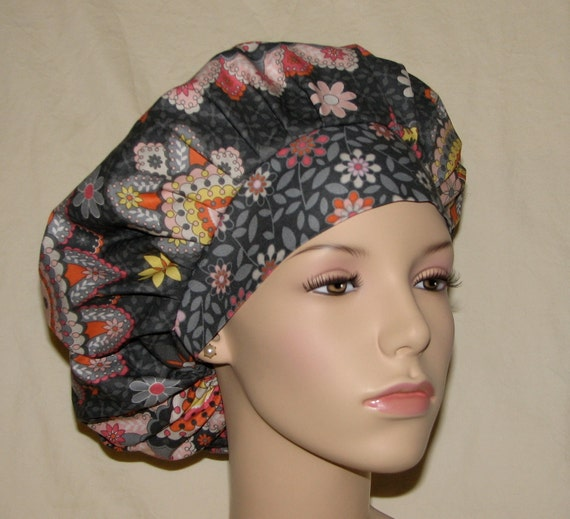 Bouffant Surgical Scrub Hats - Silent Cinema Pink And Gray