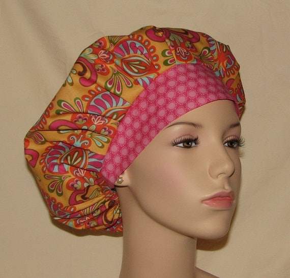 Bouffant Surgical Scrub Hat - Cabana Blooms Medallions Golden Yellow