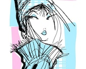 HAT-fashion illustration 8x10 digital print by Jacque Pierro