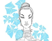 BLUE FLOWERS archival digital 8x10 print-fashion illustration by Jacque Pierro