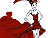 RED DRESS BALL-Fashion illustration 8x10 digital print hand drawn by Jacque Pierro