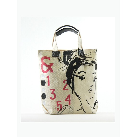 Promotional Price... canvas tote bag... &12345... hand printed