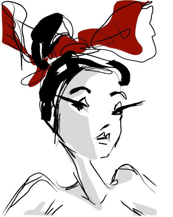 RED HAIR BOW-8x10 fashion illustration digital print