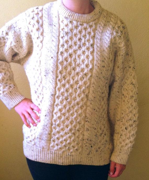 70s Cream ARAN CABLE KNIT Sweater Oversize