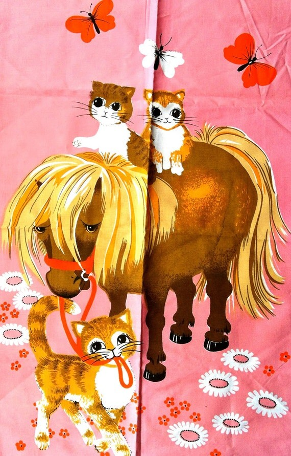 60s PONY and CAT Teatowel NOS New Old Stock Kitsch