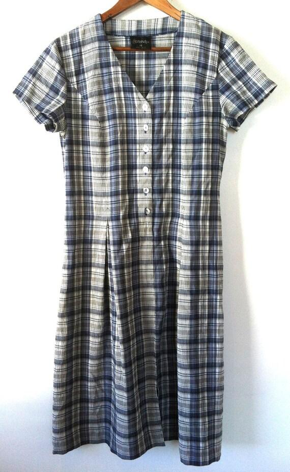 90s GRUNGE PLAID BLUE Dress