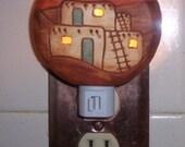 Night Light, southwestern pueblo, Southwestern decor, rustic nite light, Native design, functional artwork,