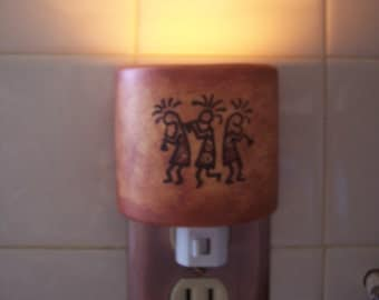 Night Light, Three Kokopellies dancing, Made In The USA night light, southwestern night light, rustic night light, automatic night light