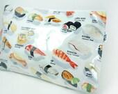 Large Makeup Bag. Travel or Home - Sushi Menu