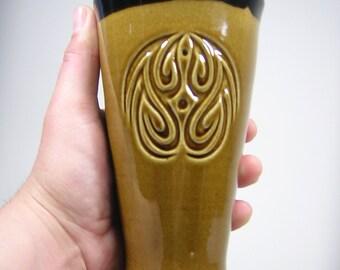Tribal Beer Mug Turkish Amber Glaze - (18oz) - Handmade stoneware - Made To Order