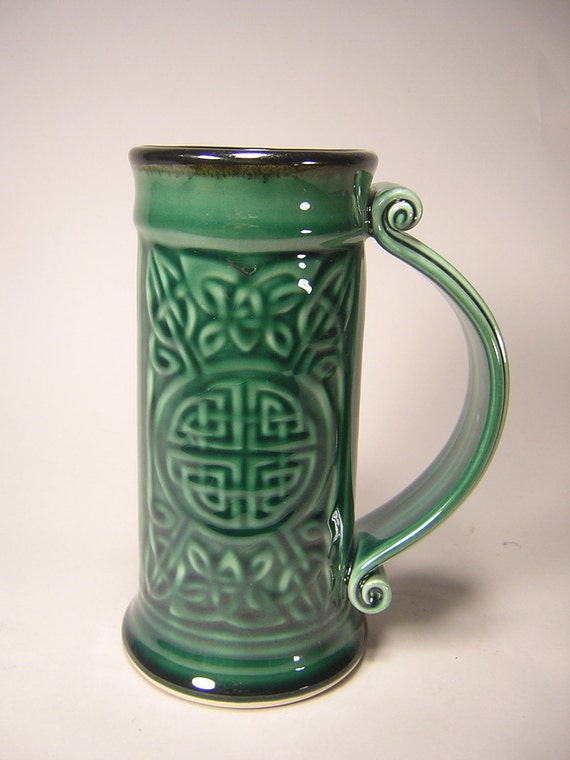 Celtic Beer Stein - Dark Forest Glaze (24oz)
