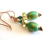 Gold and Green Copper Earrings- Free Ireland and UK Shipping