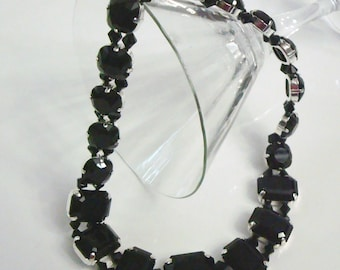 Jet Black Swarovski Crystal Necklace
