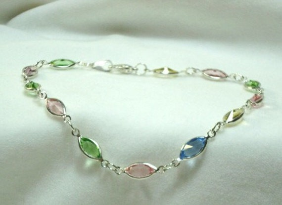 Pastel swarovski crystal ankle bracelet