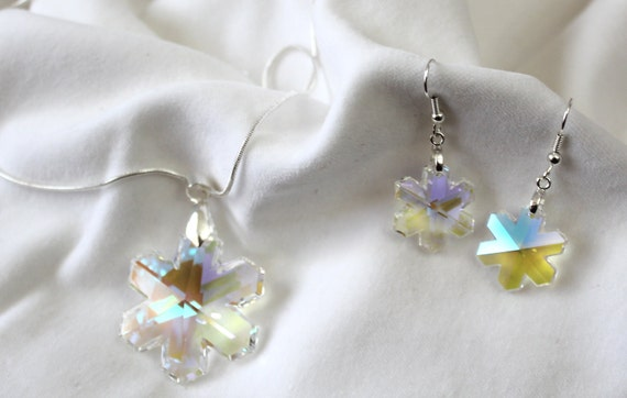 Swarovski Crystal AB Snowflake Necklace and earrings
