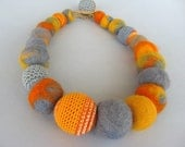 SALE Yellow-gray textile Necklace